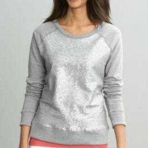 BANANA REPUBLIC SEQUINED FITTED SWEATSHIRT